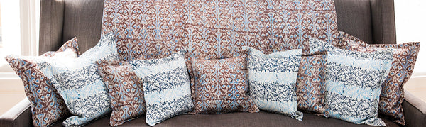 Ikat Turquoise and Chocolate Print on Natural Linen Covers