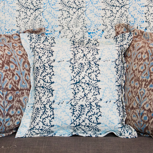 Dual Tone Blue on Natural Linen Scatter Cushions