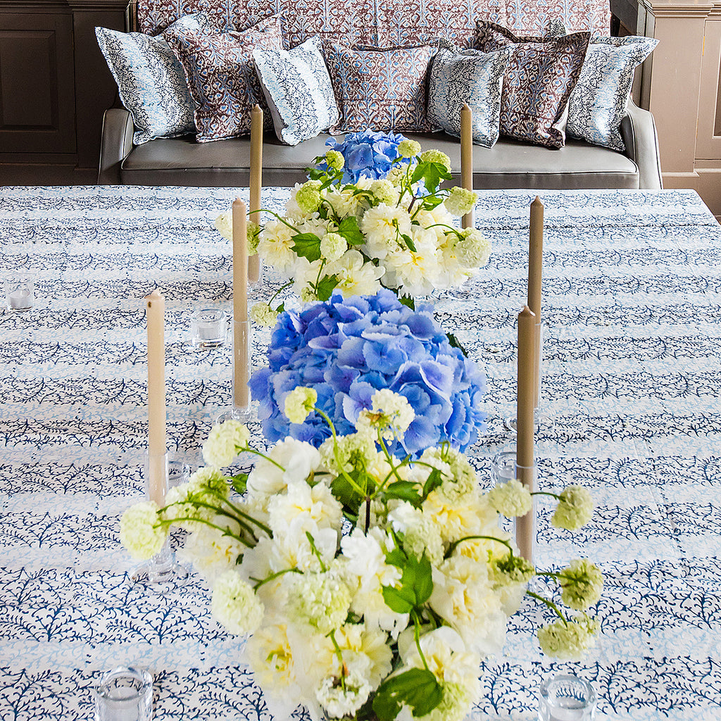 Dual Tone Blue on White Linen Covers