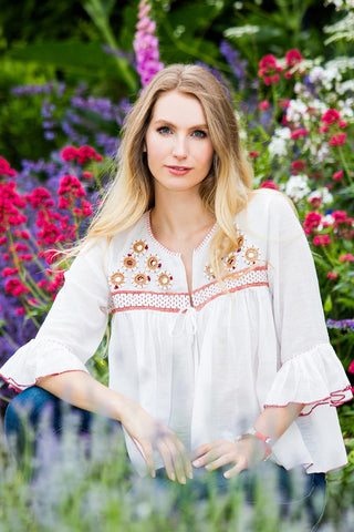 Embroidered Boho-Luxe Cotton Tops