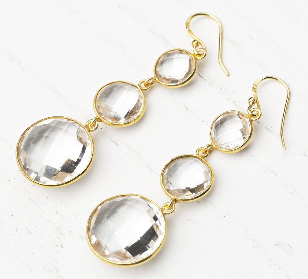 Triple Drop Rock Crystal Gold-Plated Earrings