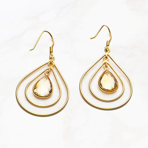 Quartz Double Teardrop Gold Earrings