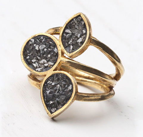 Gold-plated Silver Ring with Black Diamonds