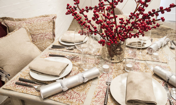 Set of Reversible Linen Placemats and Napkins