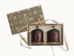 Prosperity candle gift box _ luxury gifts online india _ beautiful box _ apothecary candles _ printed bell jar candles _ apple cinnamon _ ocean breeze _ housewarming gifts _ anniversary gifts