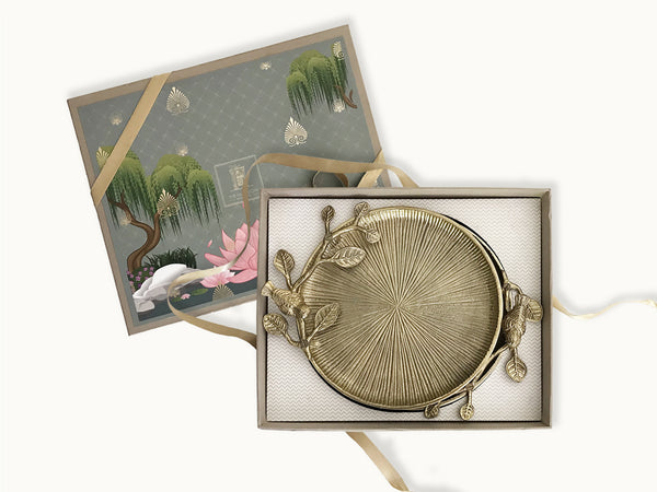 Enchanted garden jewel gift box _ online luxury gifting brand india _ gifts for them _ housewarming gifts _ wedding welcome gifts _ wedding favors _ invitations gifts _ gifts for couples _ festive gifts _ aluminium textured serving plates with floral design _ formal gifts _ gifts ideas