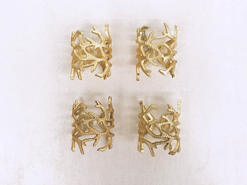napkin rings metal in gold finish gift box