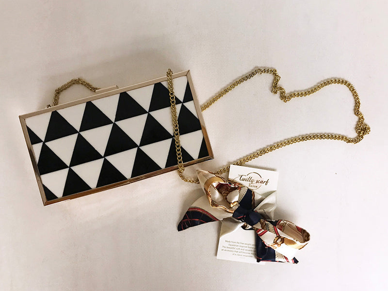 gifts for girls with multipurpose satin scarf and modern geometric party clutch