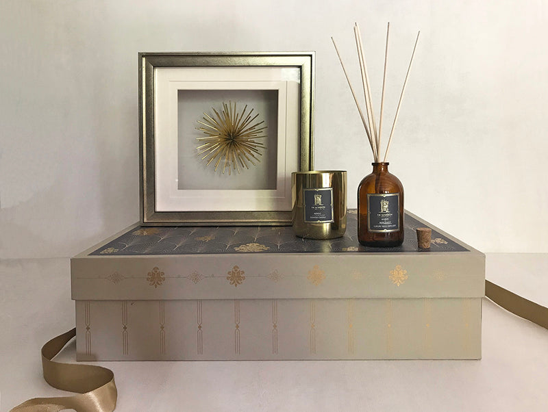 contemporary metal wall art framed _ bergamot reed diffuser _ metal fragrance candle