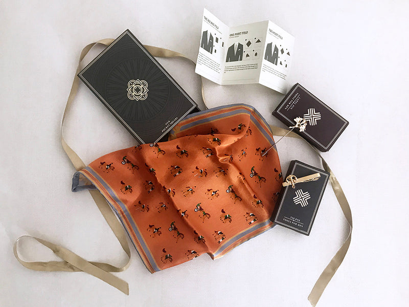 luxury pocket square gift set, with lapel pin and tie pin