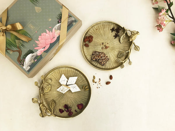 set of handcrafted gold finish aluminium metal platters with a beautiful poetic bird design , ideal for serving  _ luxury gift box