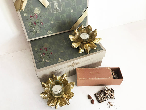 brass lotus candle t light holders _ home gifting _ invitation gifts _ wedding favors