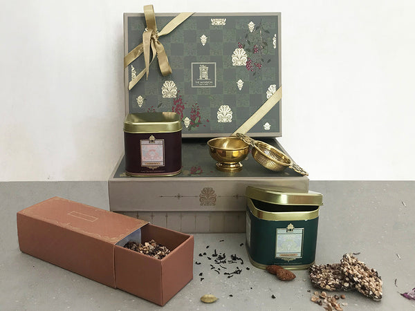luxury gifts _ premium royal anthemion _ tea gift _ house warming _ real estate _ birthday gifts _ thank you gifts _ gifts for co workers _ gifts for boss _ occasion gifting _ celebration gifts _ giveaways _ assam tea _ masala tea _ chocolate almond florentine _ brass strainer _ beautiful packaging