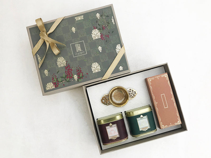 luxury gifts _ premium royal anthemion _ tea gift _ house warming _ real estate _ birthday gifts _ thank you gifts _ gifts for co workers _ gifts for boss _ occasion gifting _ celebration gifts _ giveaways _ assam tea _ masala tea _ chocolate almond florentine _ brass strainer _ hand over gifts