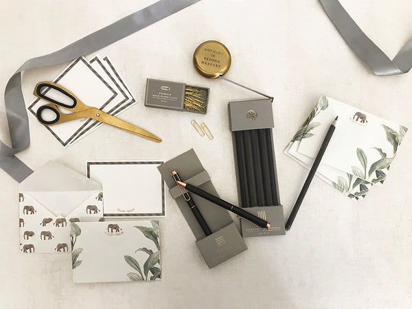 luxury stationery set with notecards _ envelopes _ seed paper pencils _ premium pen _ brass measuring tape _ scissor