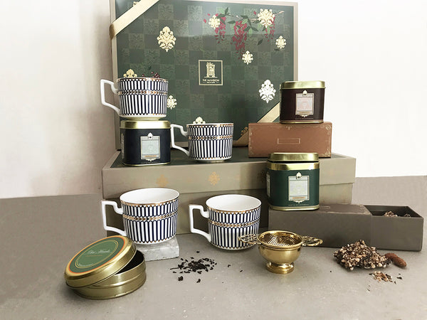 royal tea set gift box set of 4 bone china cups _ darjeeling tea _ assam tea _ almond florentine _ chai masala _ unique tea experience _ beautiful gift box