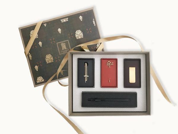 luxury gifts for men - Gentlemen essentials gift box with sleek music tie pin, leaf lapel pin, gold money clip and a mechanical black pen _ gifts for boys