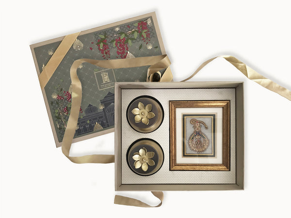 Jewel Heritage gift box with framed meenakari marble jewel painting and a set of 2 decorative lotus jars for serving nuts. An ideal gift box for wedding giveaway, griha pravesh, housewarming, festivals and more, presented by The Mansion , an online luxury gifting brand of india.