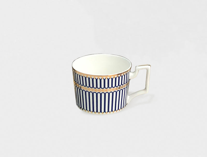 art deco bone china cup in gold and blue decal print