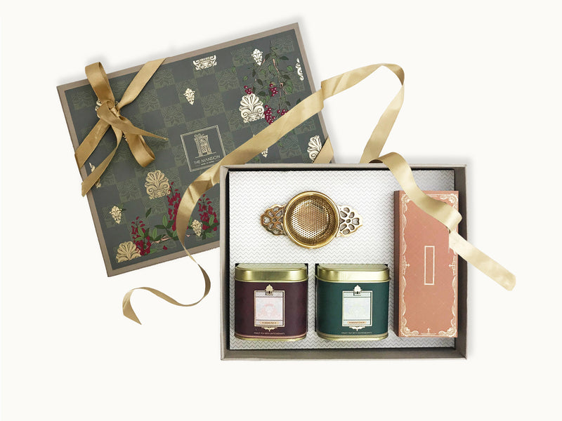 Premium Royal Anthemion gift box _ gifts for tea lovers _ gifts for women _ gifts for her _ gifts for men _ gifts for clients _ wedding gifts _ wedding favors _ festive gifts _ corporate gifts _ womens day gifts _ luxury gifts _ tea gifts _ assam tea _ masala tea _ almond chocolate florentine _ brass tea strainer with bowl | gifts for mom | best gift ideas for mom | tea for mom | gift box for mom | mother's day gift ideas | gifts for mother's day