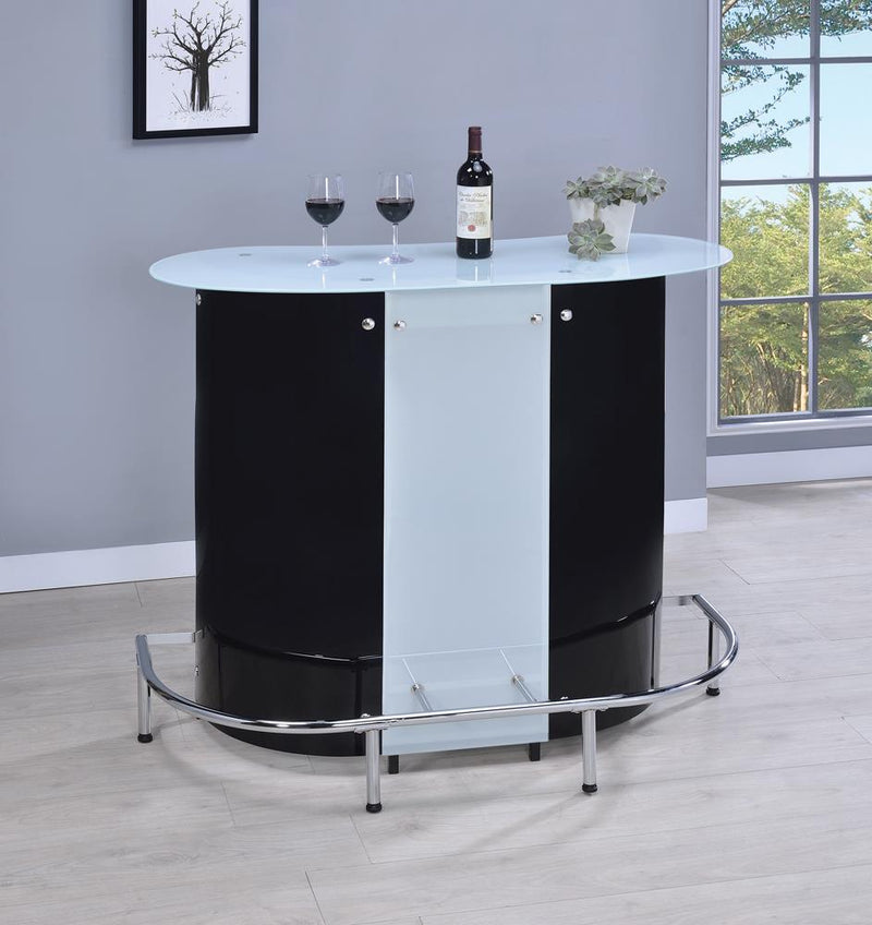 G100654 Contemporary Black and Chrome Bar Unit with Frosted Glass Top image