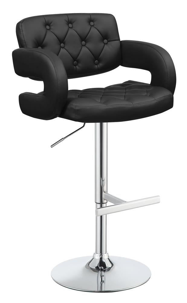 G102555 Contemporary Black Faux Leather Adjustable Bar Stool image