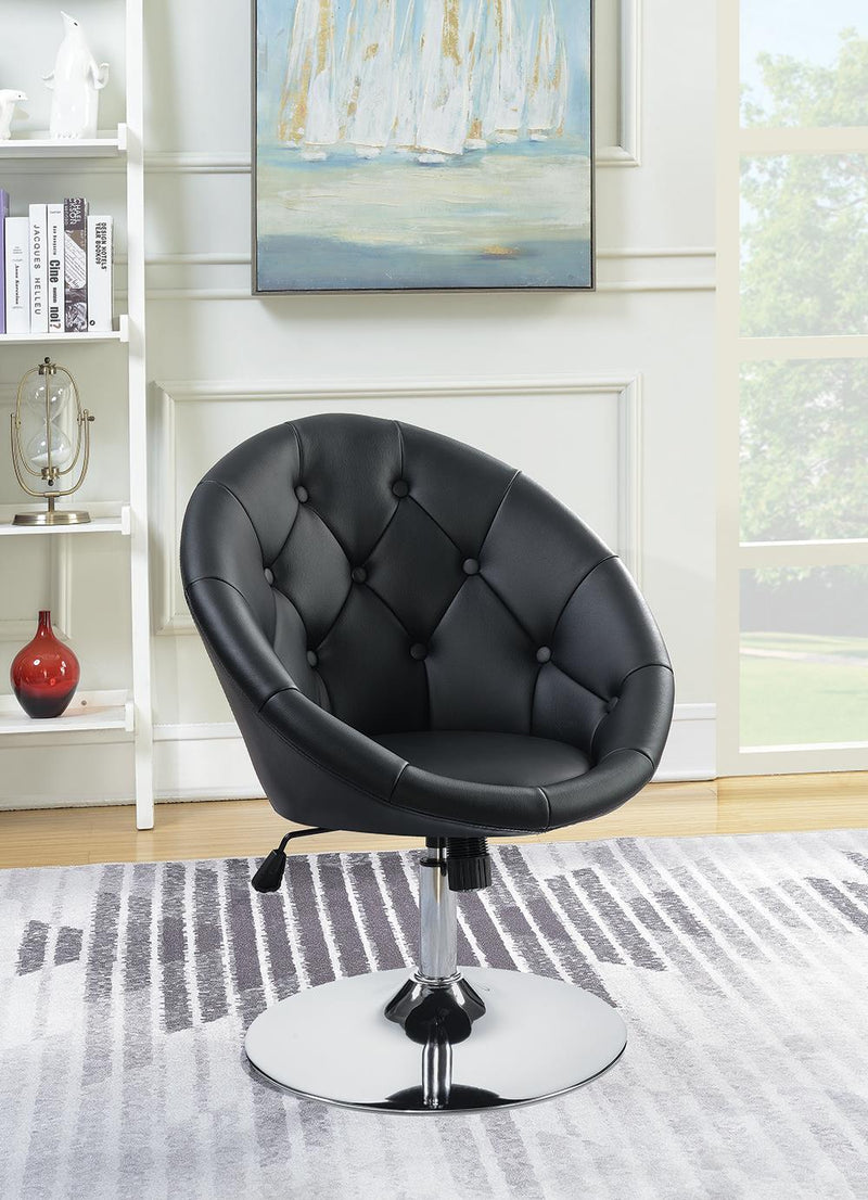 G102580 Contemporary Black Faux Leather Swivel Accent Chair image