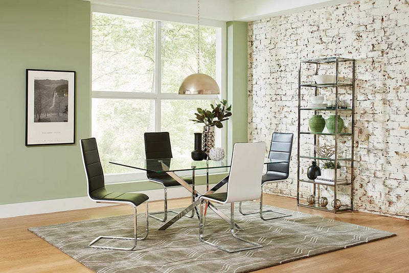 Broderick Contemporary Chrome and Black Dining Chair image
