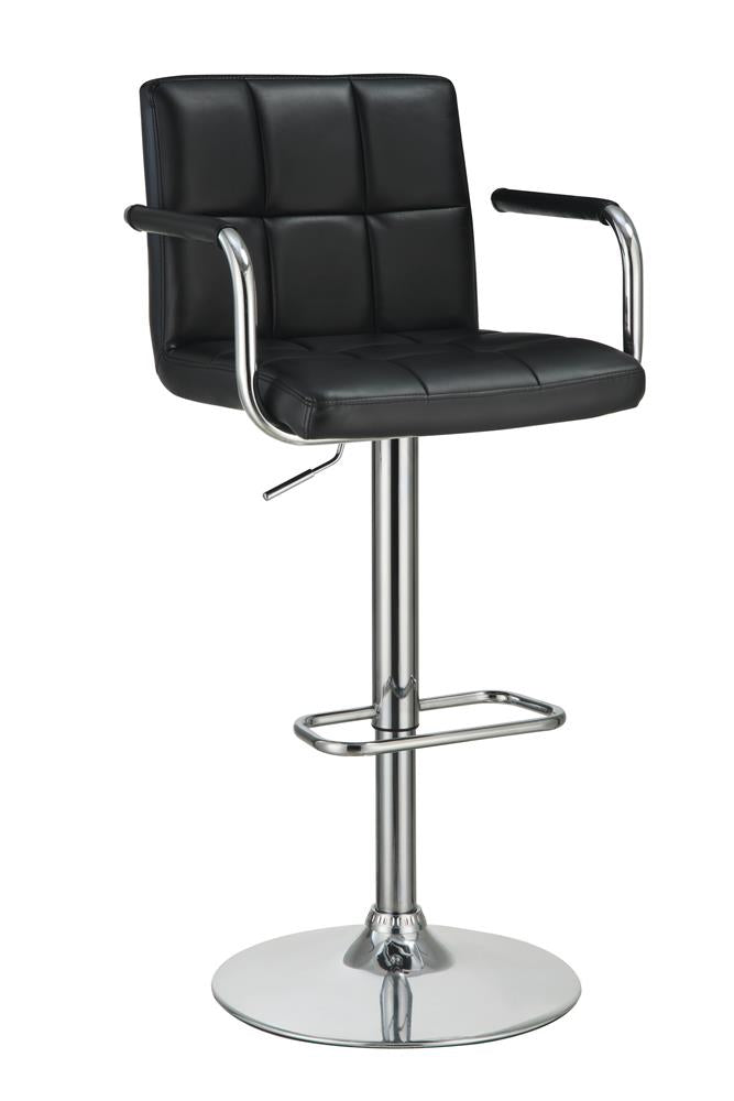 G121095 Contemporary Black and Chrome Adjustable Bar Stool with Arms image