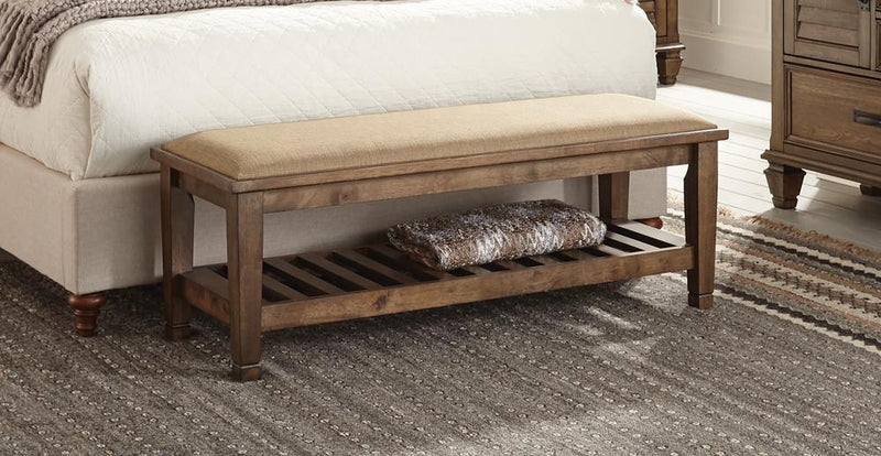 Franco Burnished Oak Upholstered Bench image