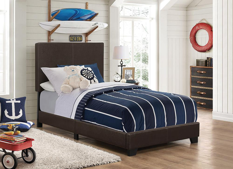Dorian Brown Faux Leather Upholstered Twin Bed image
