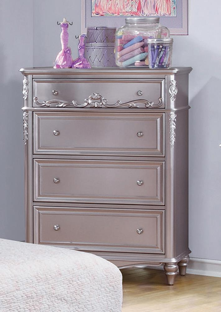 Caroline Metallic Lilac Four-Drawer Chest image
