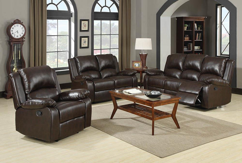Boston Brown Reclining Three-Piece Living Room Set image