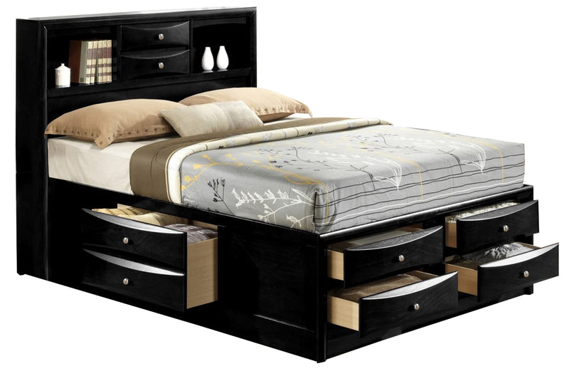 Crown Mark Furniture Emily Captain's King Bed in Black image