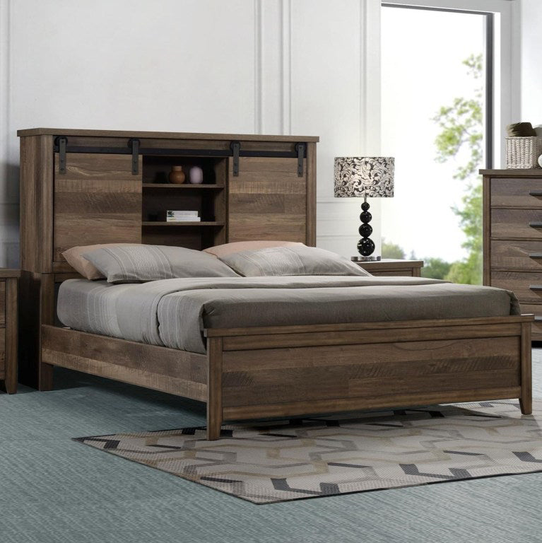 Crown Mark Furniture Calhoun King Bookcase Bed in Brown image