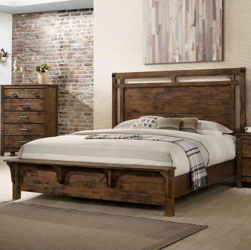 Crown Mark Furniture Curtis King Panel Bed in Rustic image