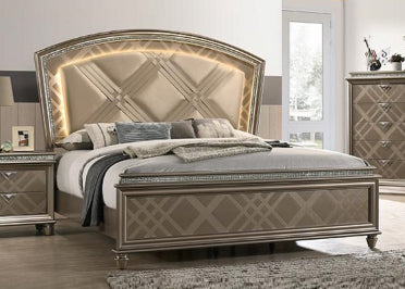 Crown Mark Cristal Queen Panel Bed in Brown image
