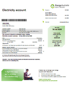 Australia Energy Australia electricity utility bill template in word format (editing from us included)