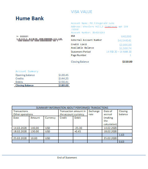 Australia Humebank proof of address statement template in doc format fully editable (editing from us included)