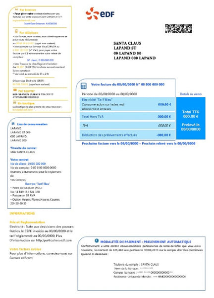 France electricity EDF utility bill template word format (includes modification)