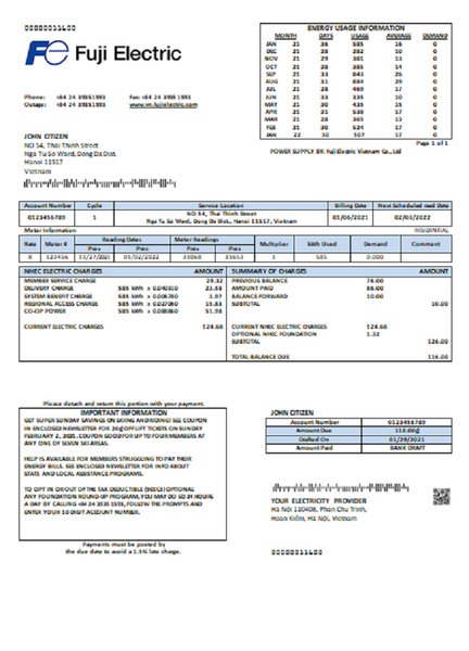 Vietnam Fuji Electric Vietnam Co. utility bill template in word format (modifying included)