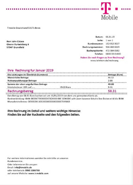 Germany T Mobile utility bill template in Word and PDF format (customization involved)