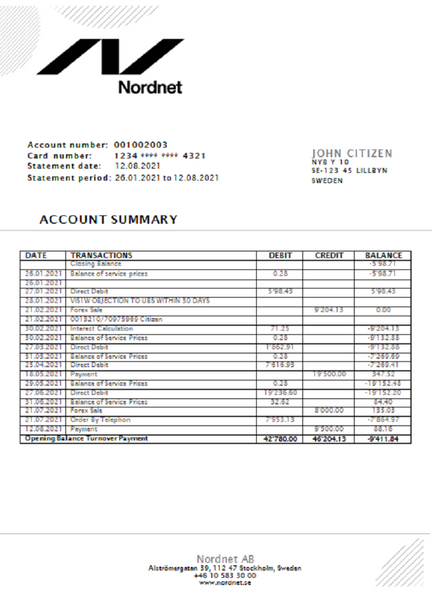 Sweden Nordnet AB bank statement easy to fill template in doc format fully editable (editing from us included)