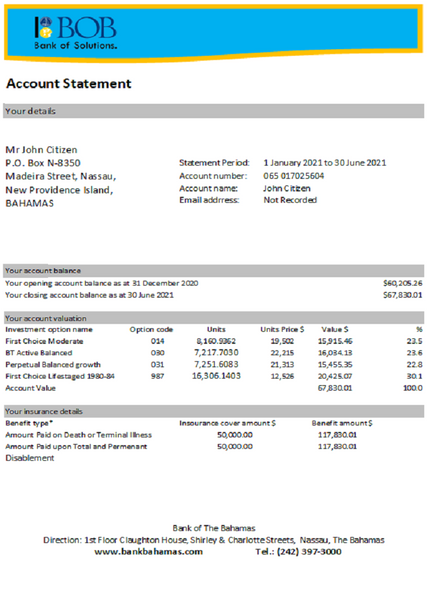 Bahamas Bank of the Bahamas bank statement easy to fill template in .xls file format (editing for free)