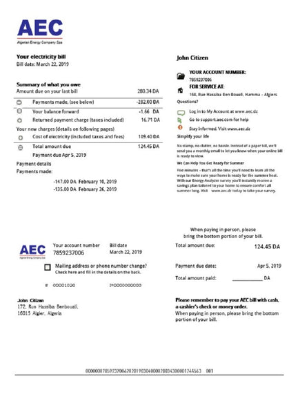 Algeria AEC Algerian Energy Company utility bill template in word format (customization included)
