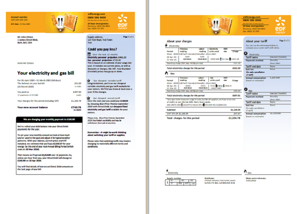 United Kingdom EDF utility bill template in word format (3 pages) (editing from us included)