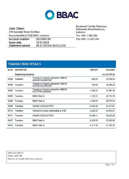 Lebanon BBAC Bank proof of address statement template in word format (plus free modification)