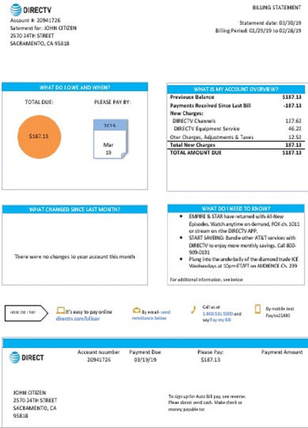 USA California Directv utility bill template in word format, good for address prove (customizing from us)