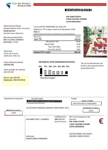 France Gaz de France Dolcevita utility bill template in word format (customization included)