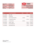 Australia HSBC Bank statement template in excel format (free modification) fully editable